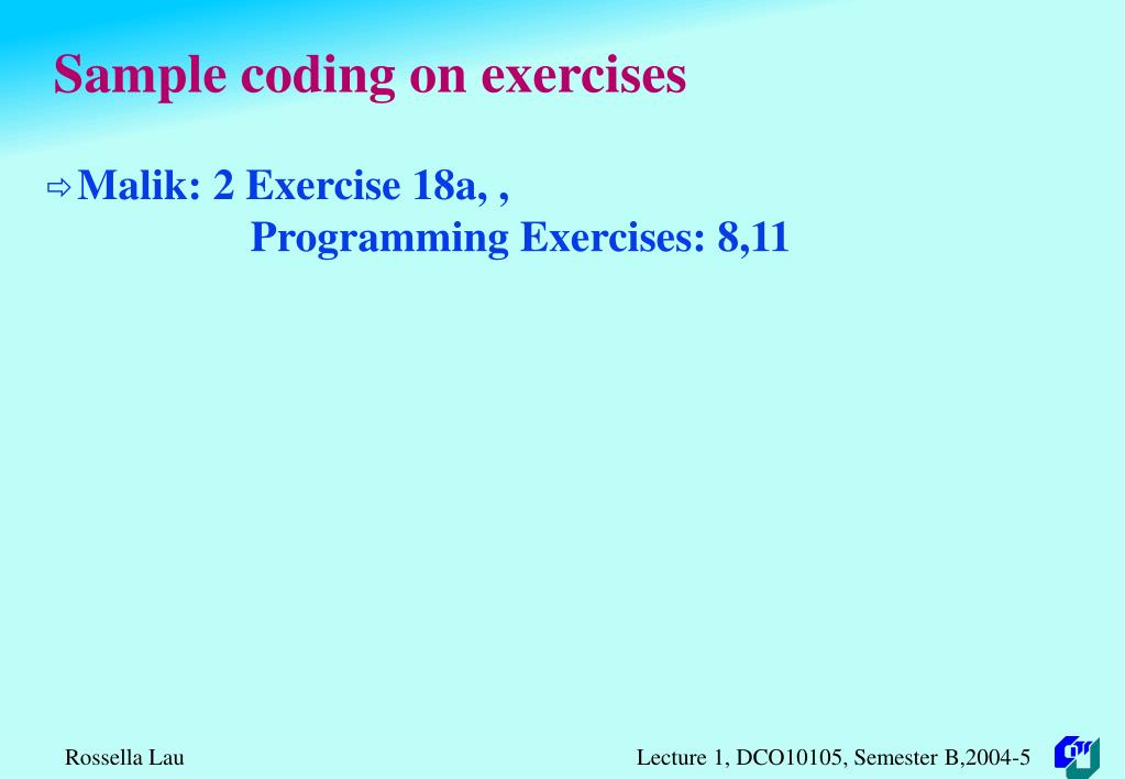 Sample coding on exercises