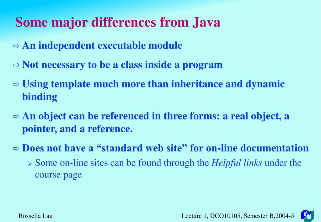 Some major differences from Java