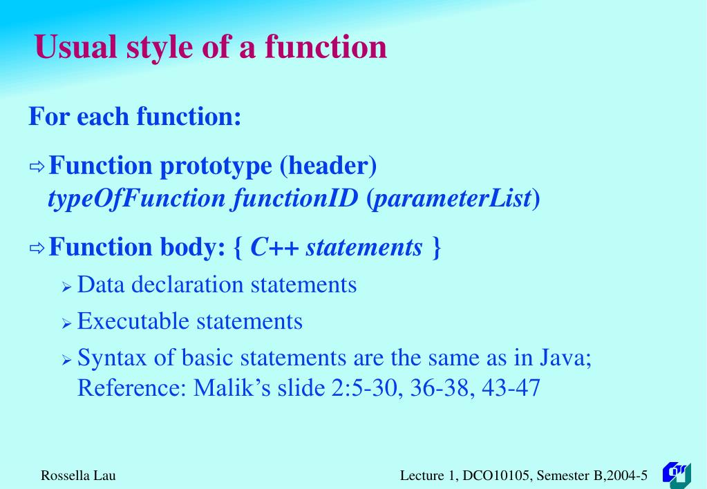 Usual style of a function