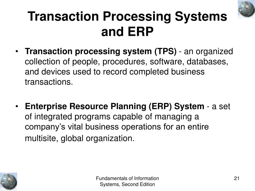 Transaction Processing Systems and ERP