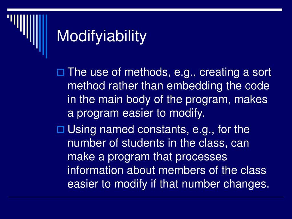 Modifyiability
