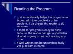 reading the program