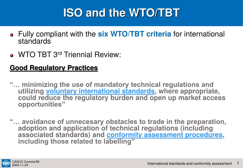 ISO and the WTO/TBT