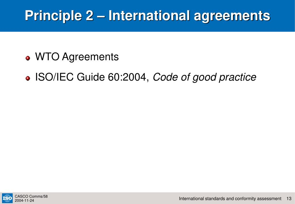 Principle 2 – International agreements