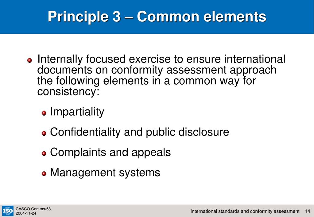 Principle 3 – Common elements