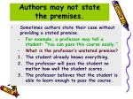authors may not state the premises