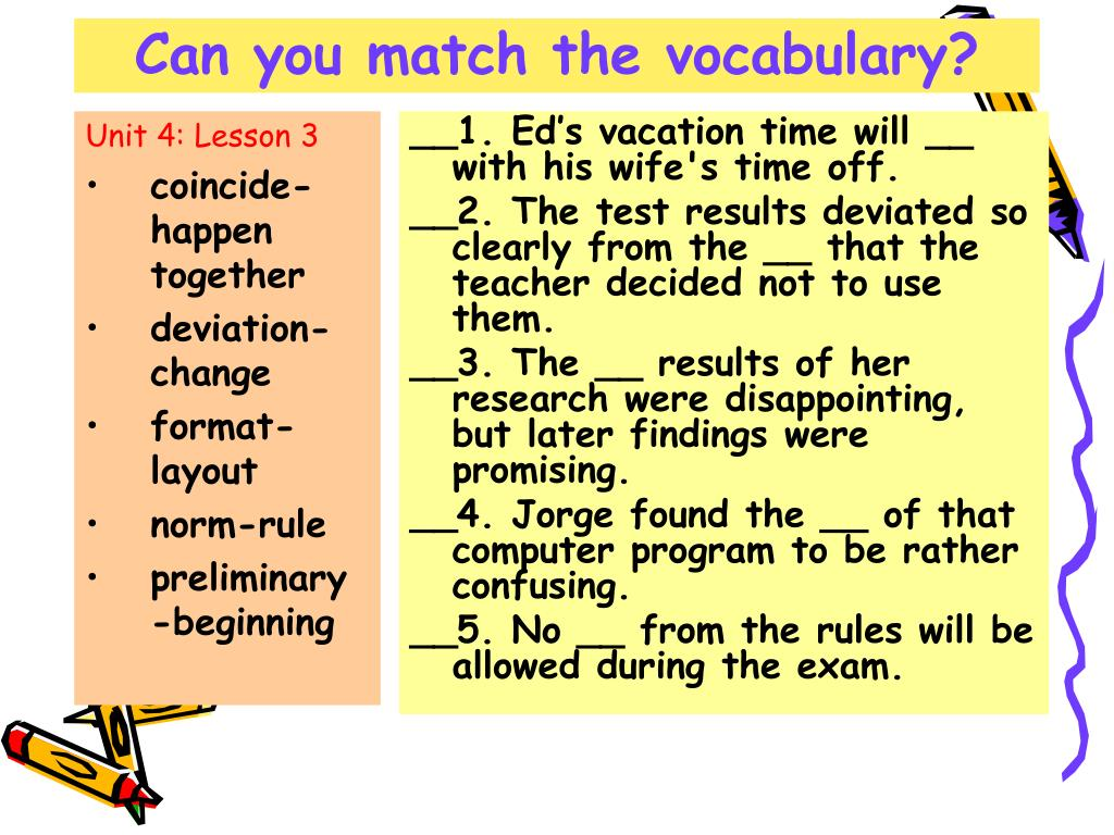Can you match the vocabulary?