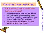 premises have lead ins