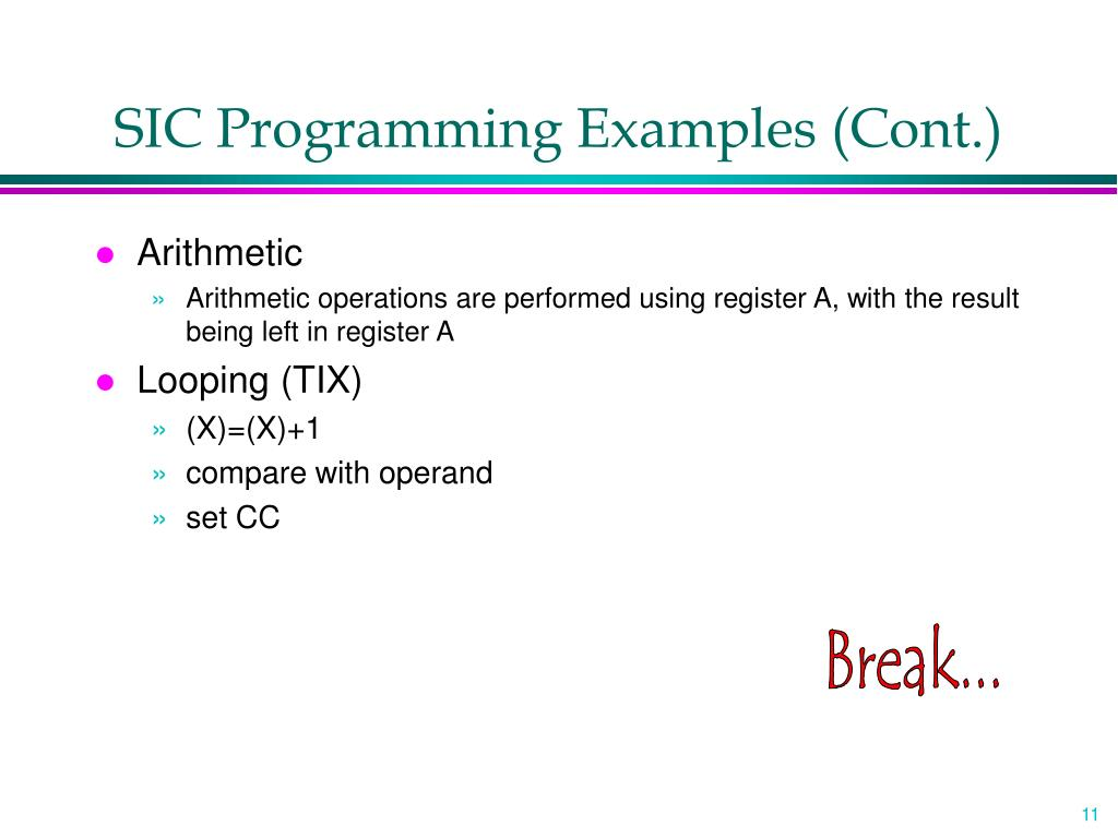 SIC Programming Examples (Cont.)