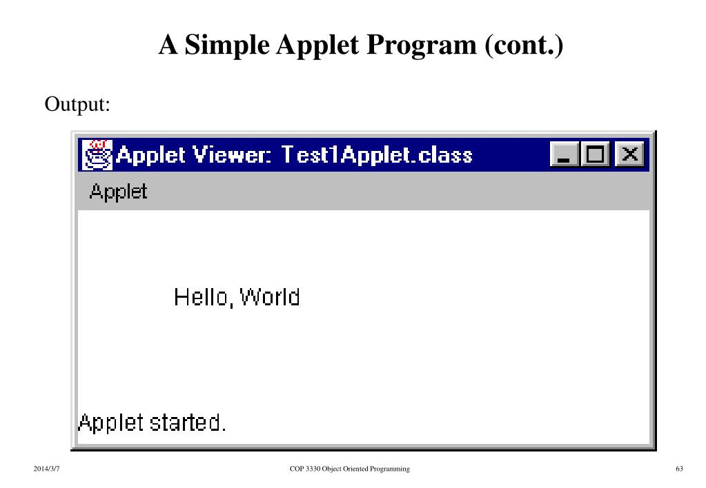 A Simple Applet Program (cont.)