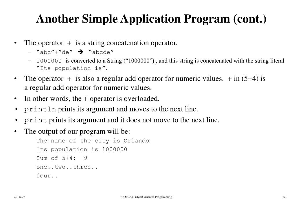 Another Simple Application Program (cont.)
