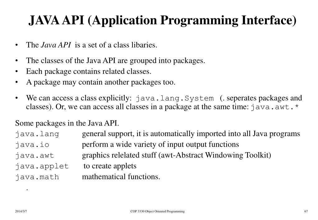 JAVA API (Application Programming Interface)