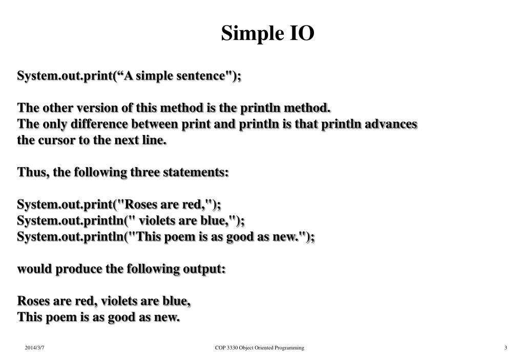 Simple IO