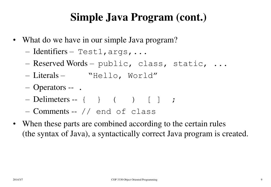 Simple Java Program (cont.)