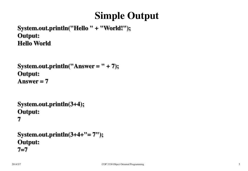 Simple Output