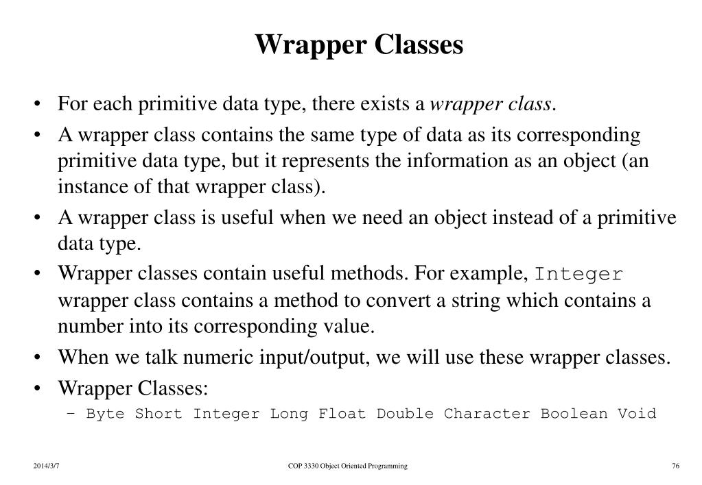 Wrapper Classes