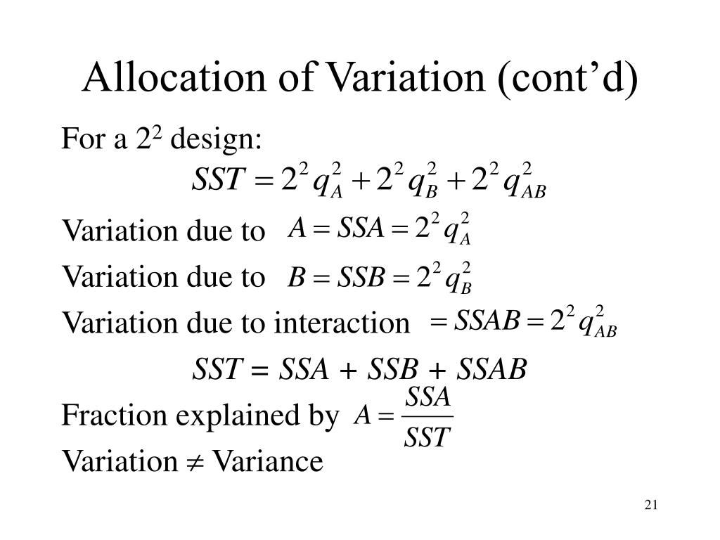 Allocation of Variation (cont'd)