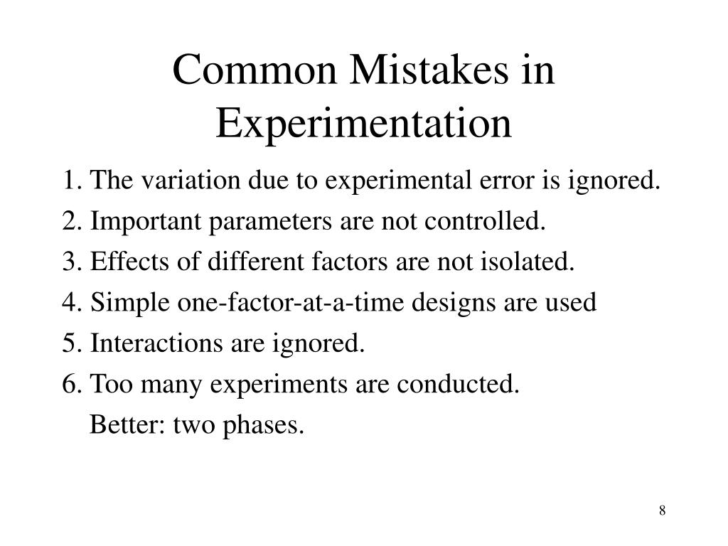 Common Mistakes in Experimentation