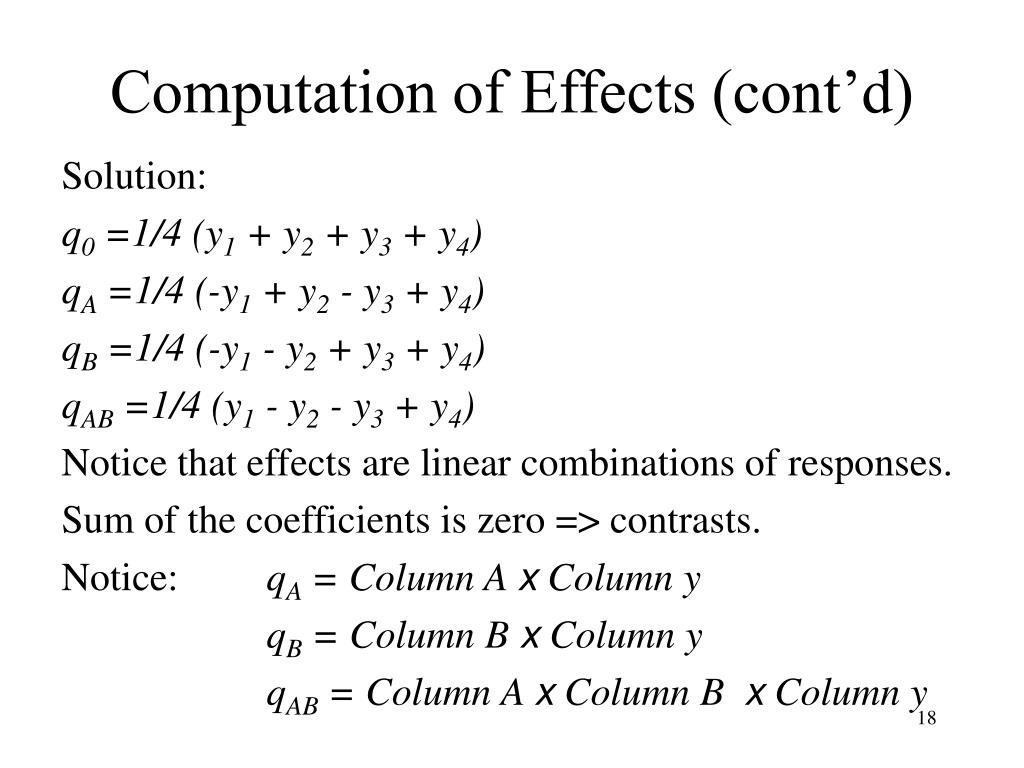 Computation of Effects (cont'd)