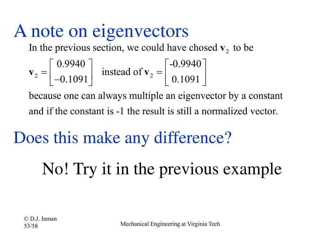 A note on eigenvectors