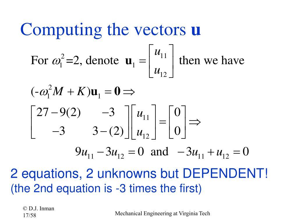 Computing the vectors