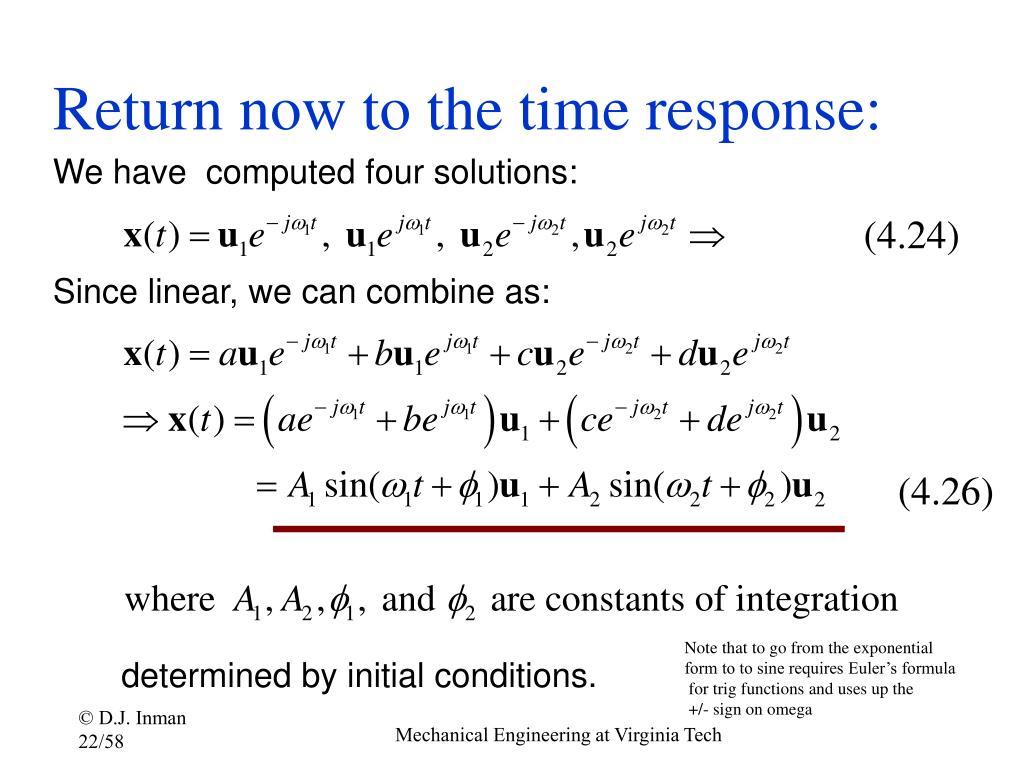 Return now to the time response: