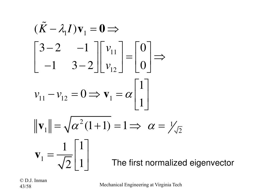 The first normalized eigenvector
