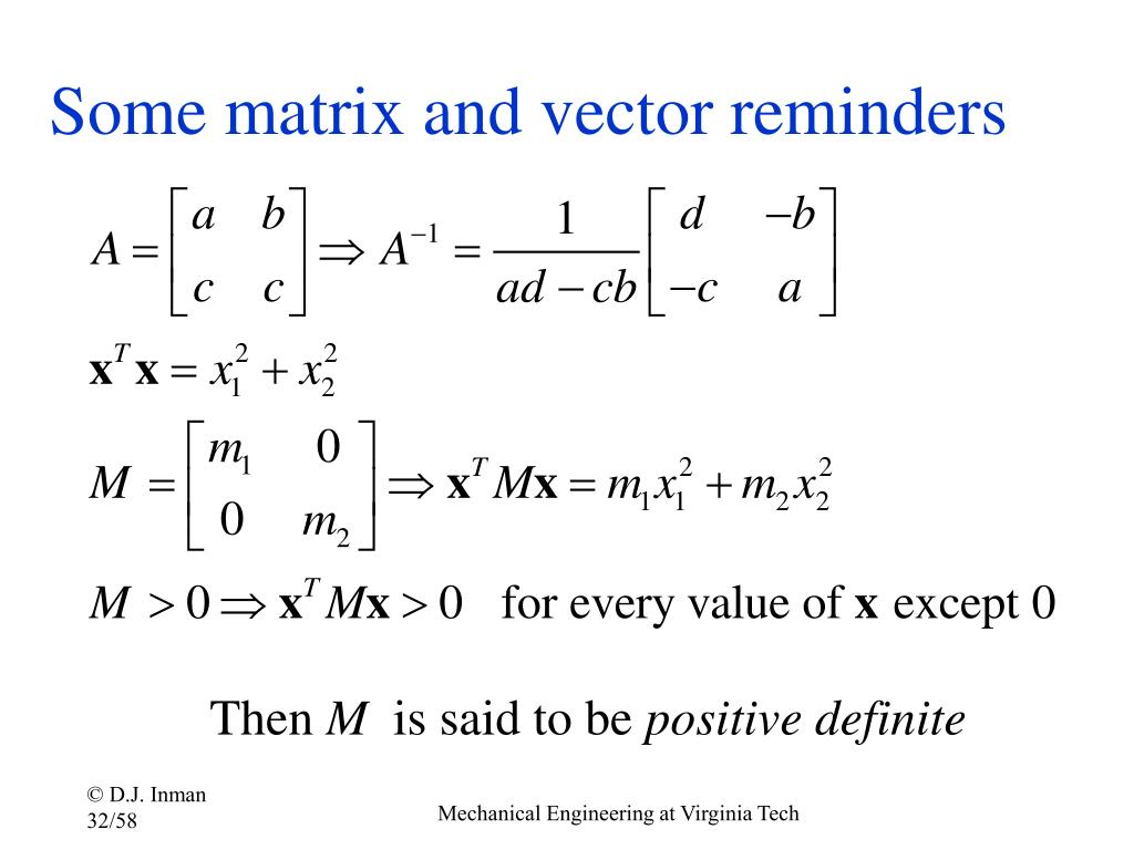 Some matrix and vector reminders