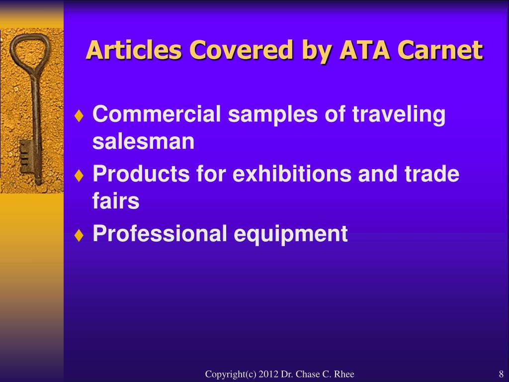 Articles Covered by ATA Carnet