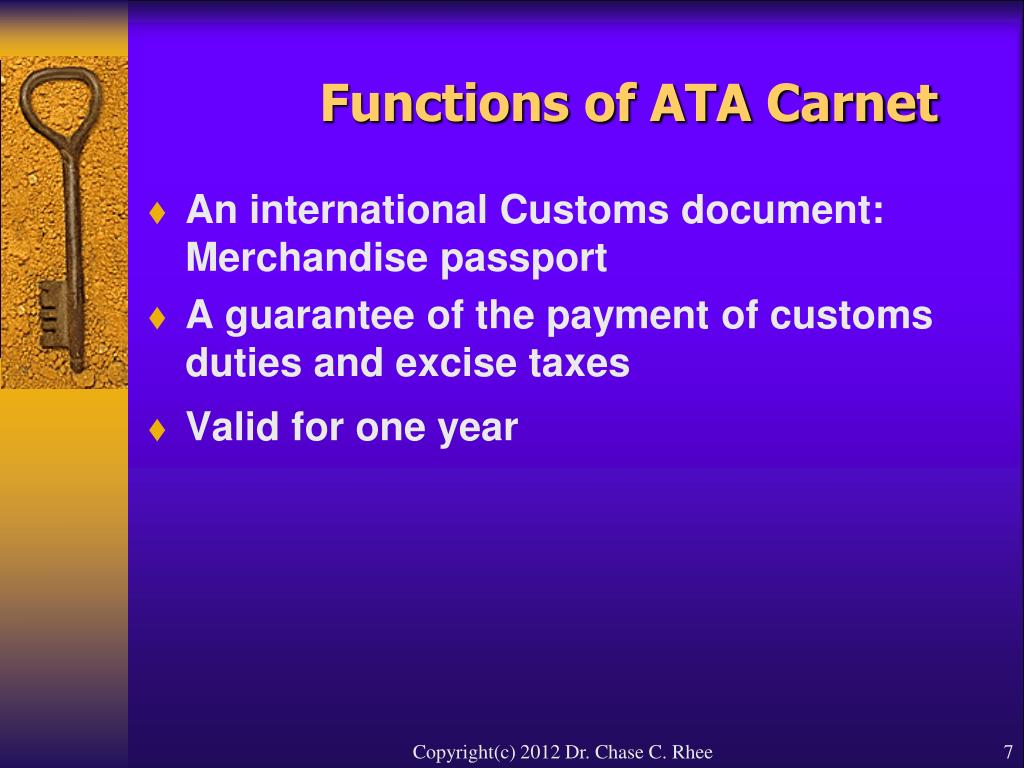 Functions of ATA Carnet