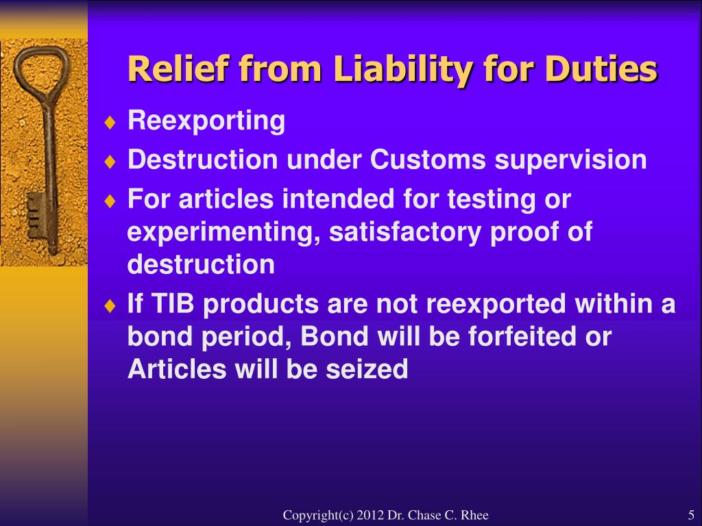 Relief from Liability for Duties