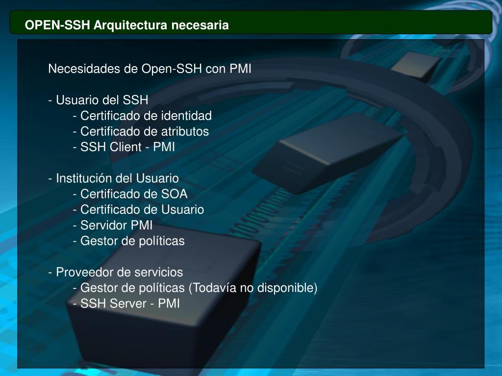 OPEN-SSH Arquitectura necesaria