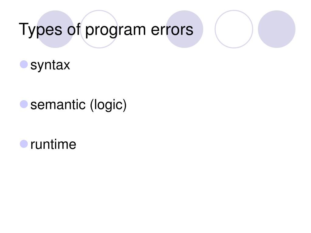 Types of program errors