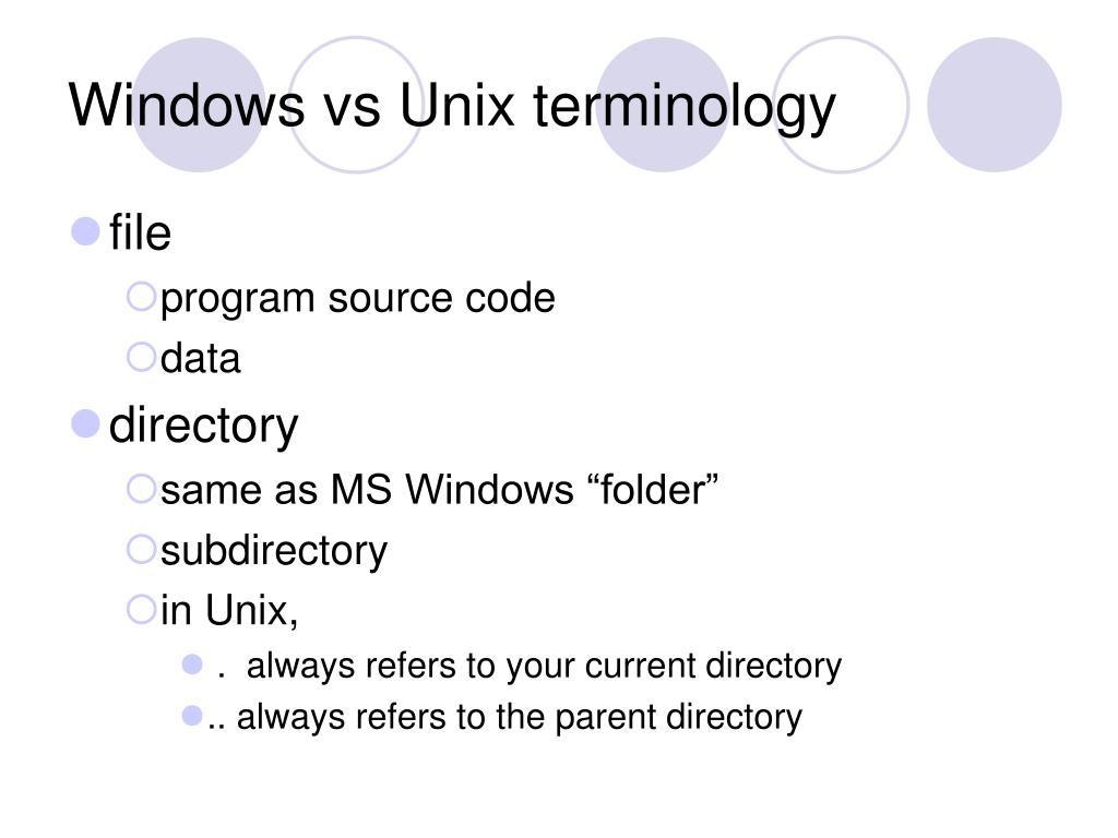 Windows vs Unix terminology