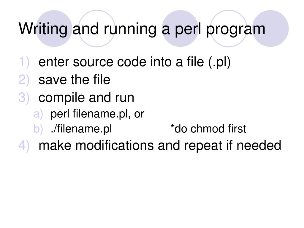 Writing and running a perl program