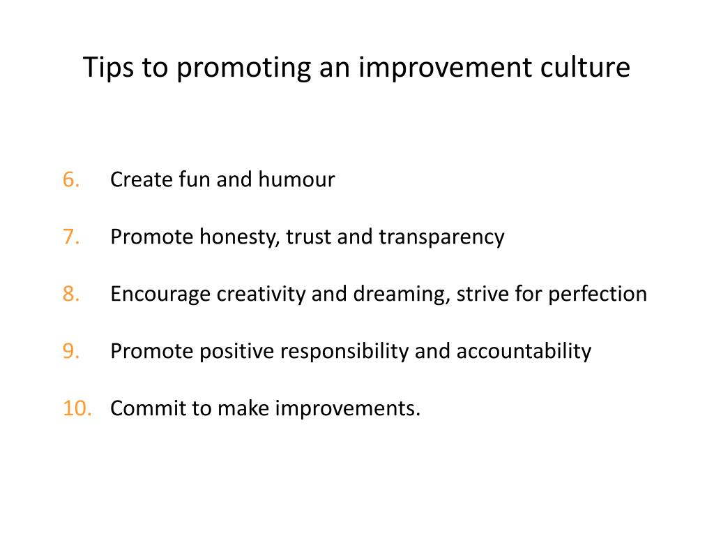 Tips to promoting an improvement culture
