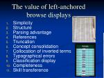 the value of left anchored browse displays