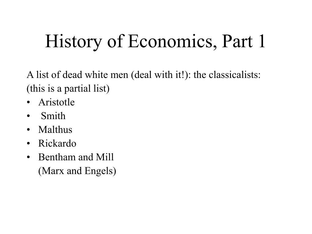 History of Economics, Part 1