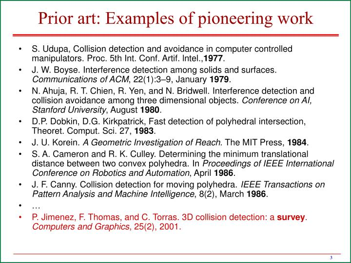 Prior art examples of pioneering work