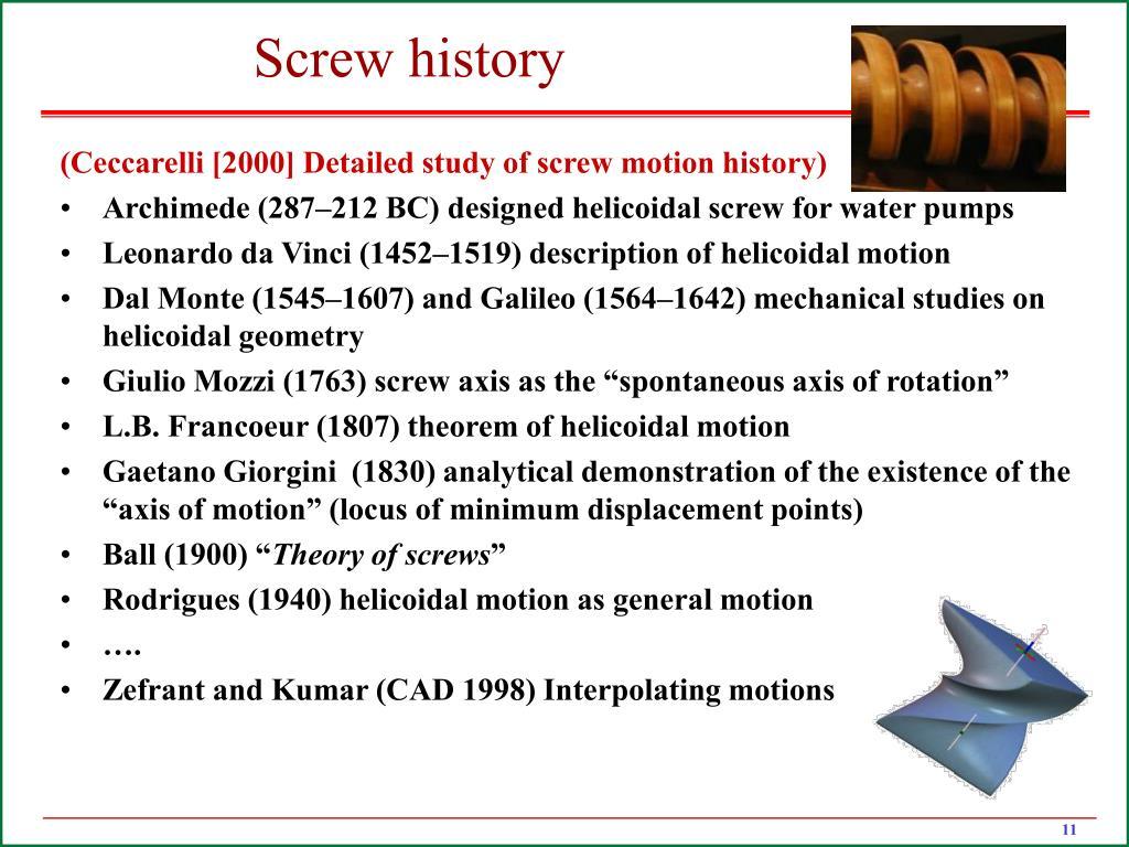 Screw history