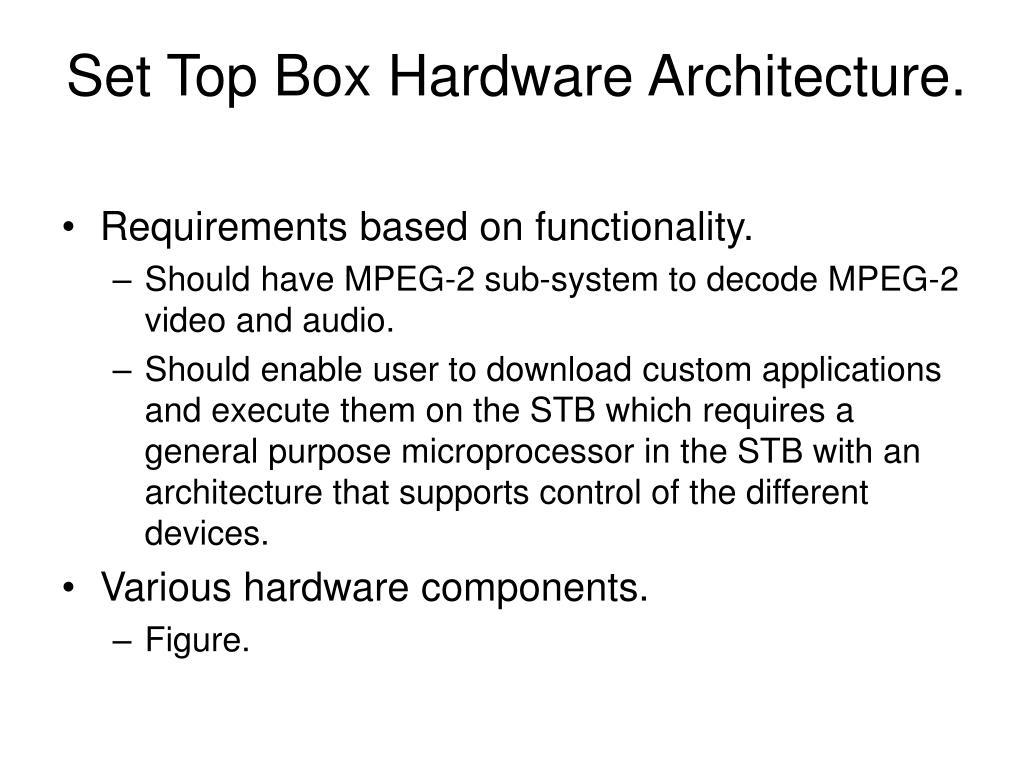 Set Top Box Hardware Architecture.