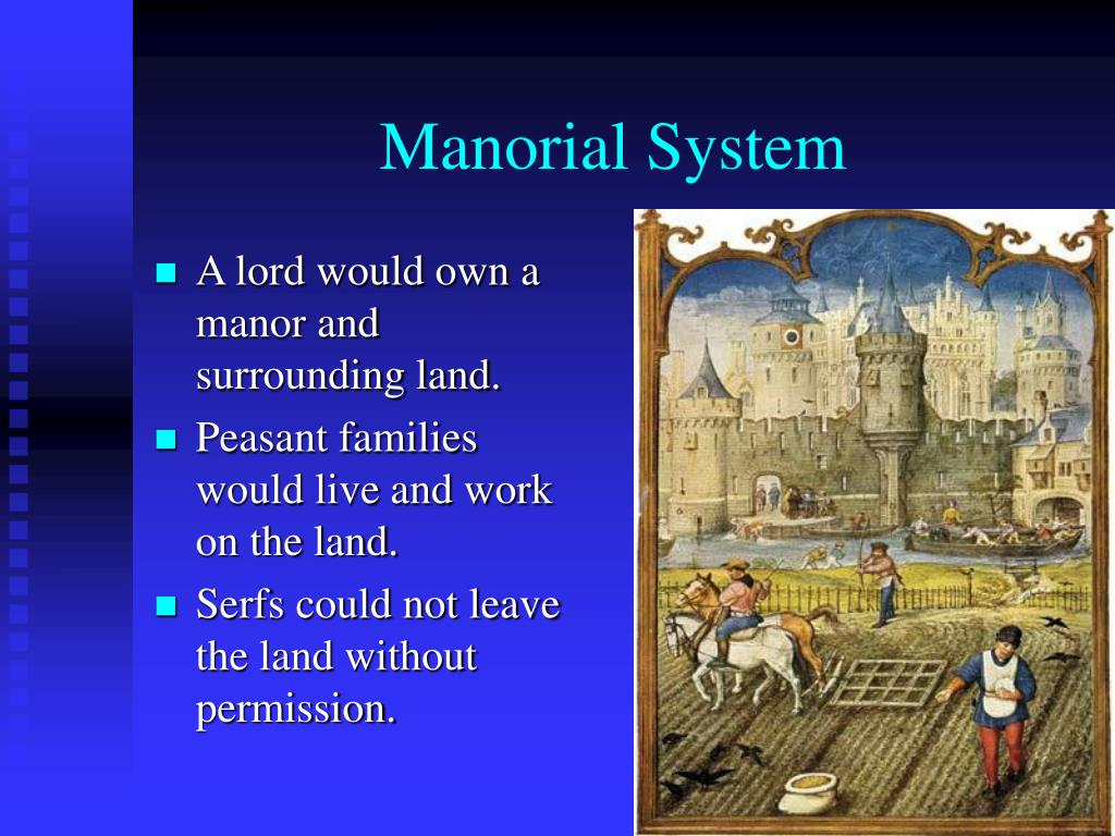 A lord would own a manor and surrounding land.