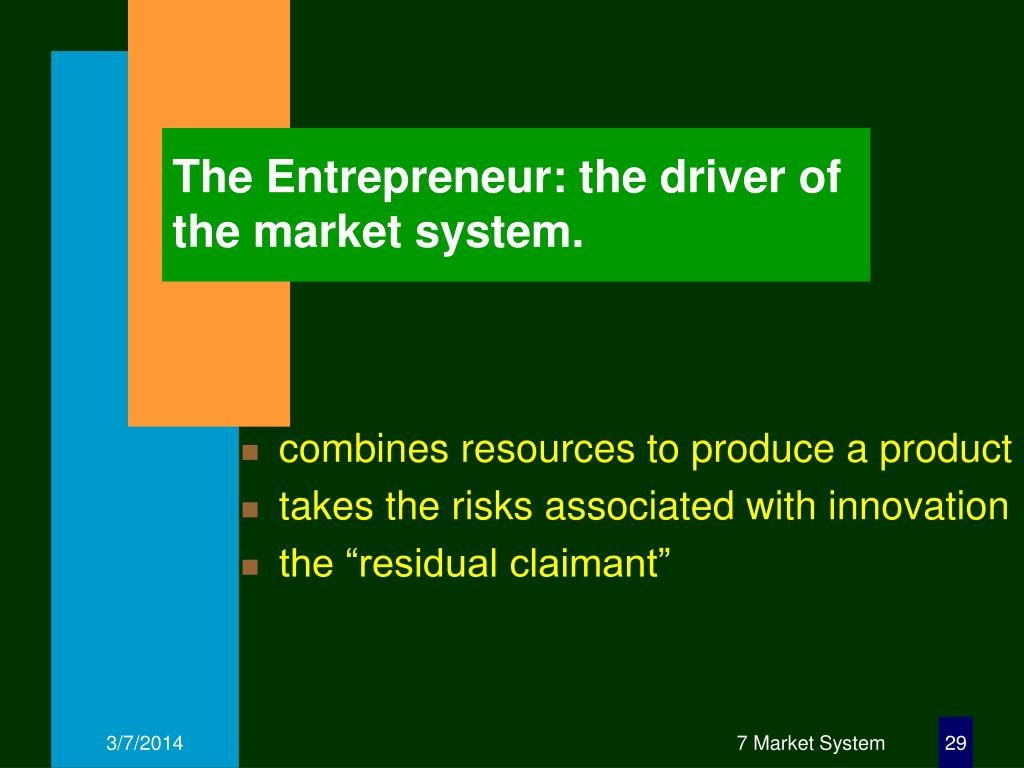 The Entrepreneur: the driver of the market system.