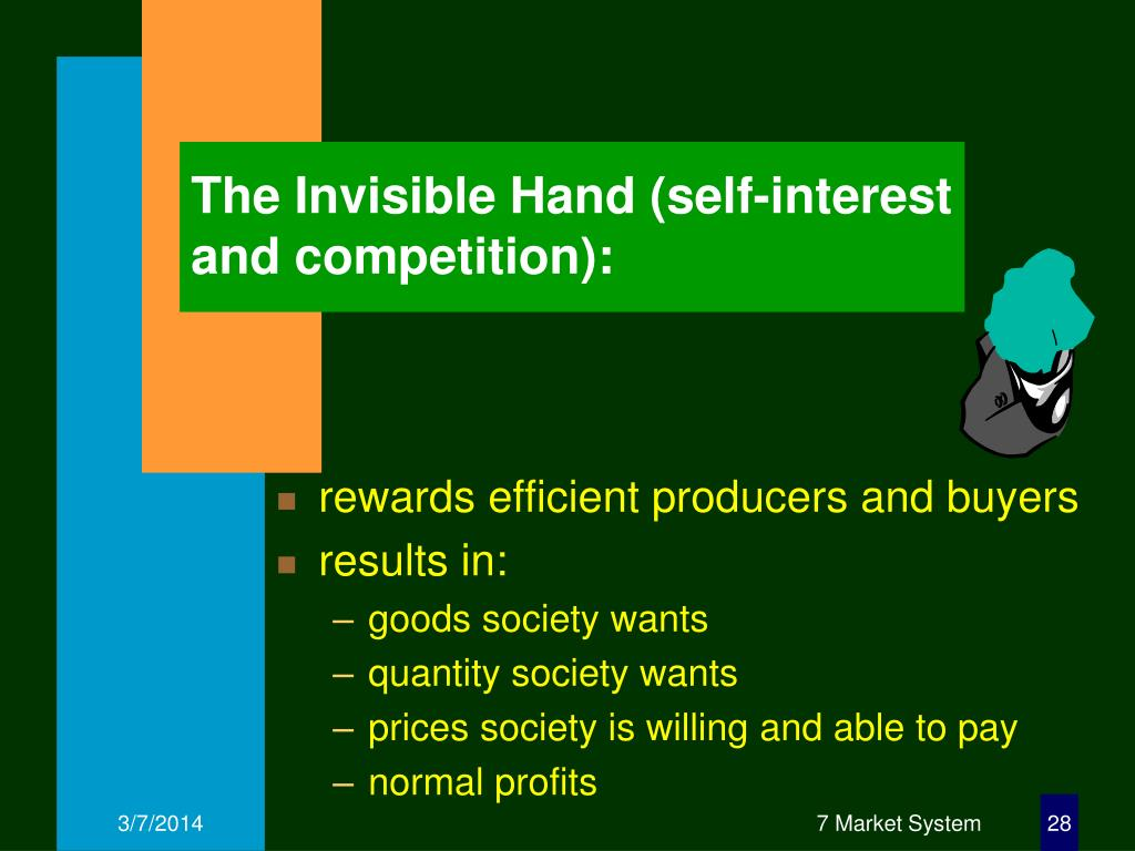 The Invisible Hand (self-interest and competition):