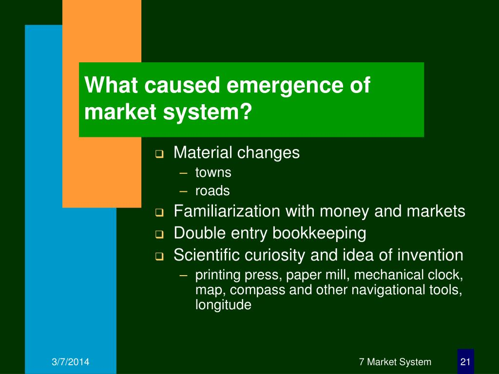 What caused emergence of market system?
