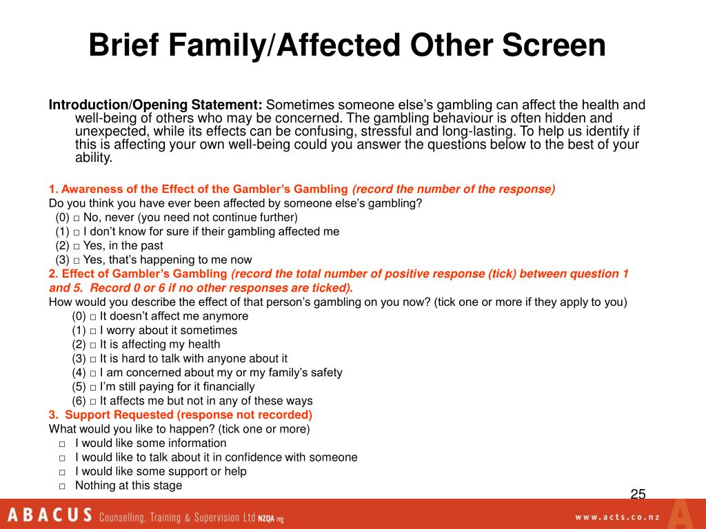 Brief Family/Affected Other Screen