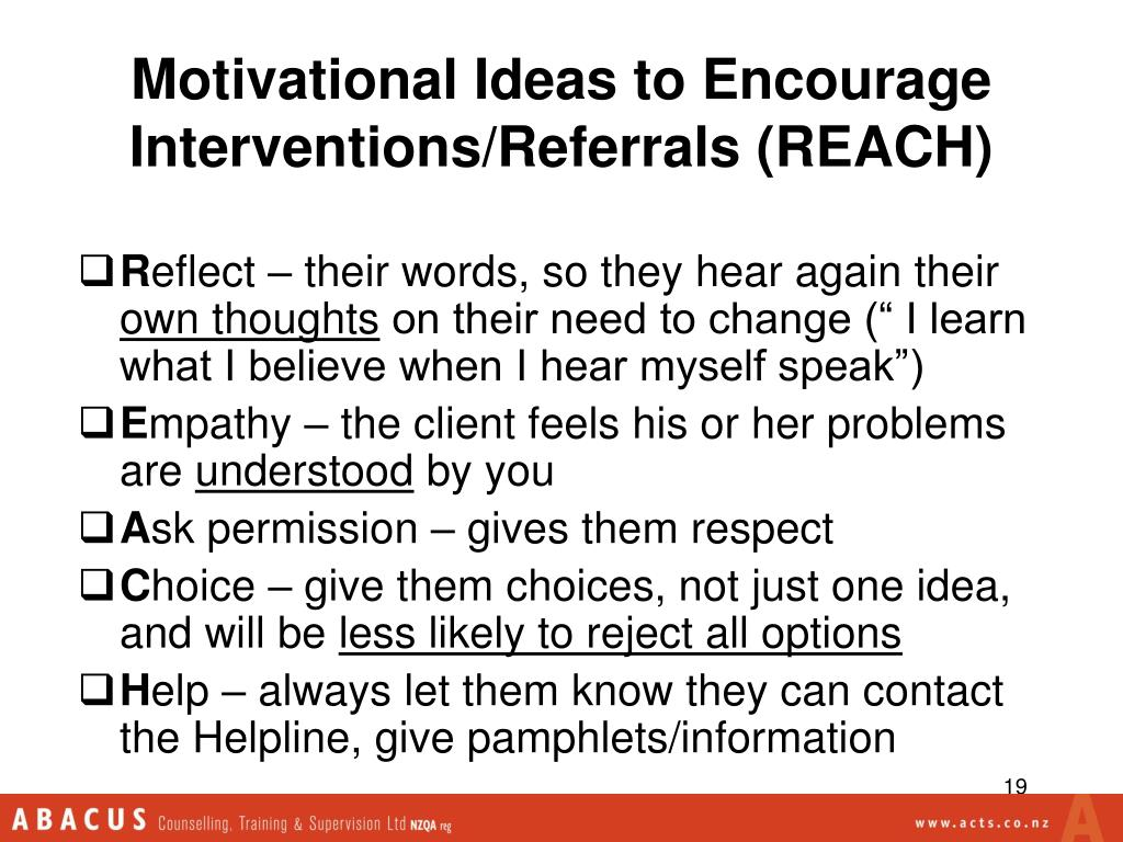Motivational Ideas to Encourage Interventions/Referrals (REACH)