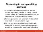 screening in non gambling services