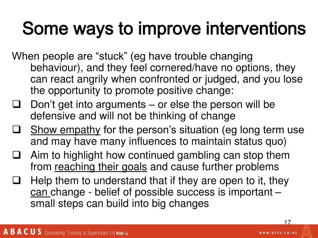 Some ways to improve interventions