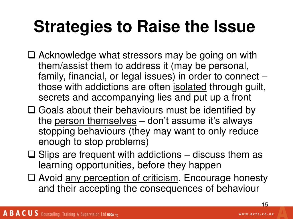 Strategies to Raise the Issue